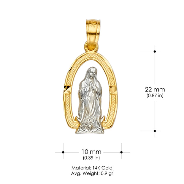 14K Gold Mexican CZ Guadalupe Medal Religious Pendant