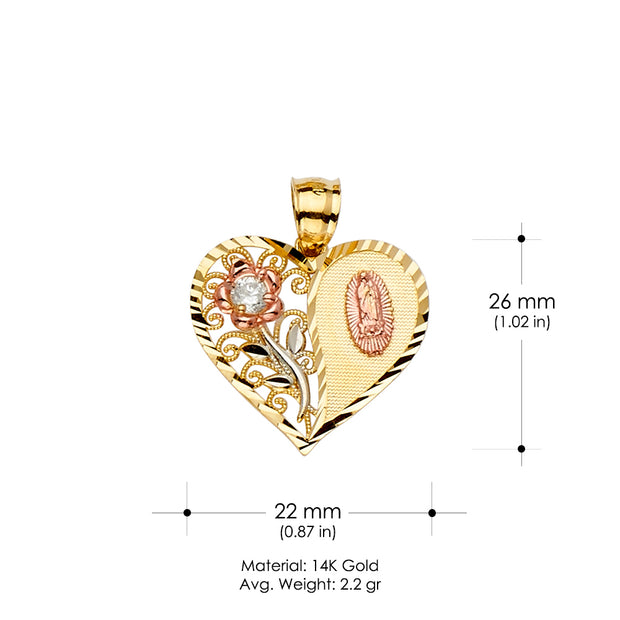 14K Gold Heart Cut CZ Guadalupe Medal Religious Pendant