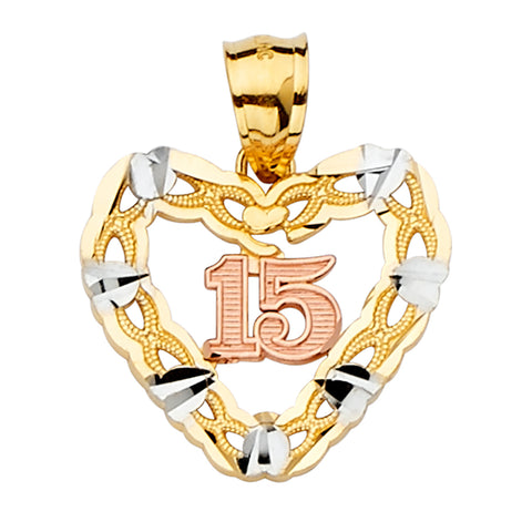 14K Gold 15 Years Quinceanera Heart Charm Pendant