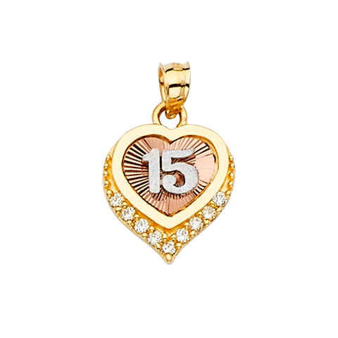 14K Gold 15 Years Quinceanera Heart CZ Charm Pendant