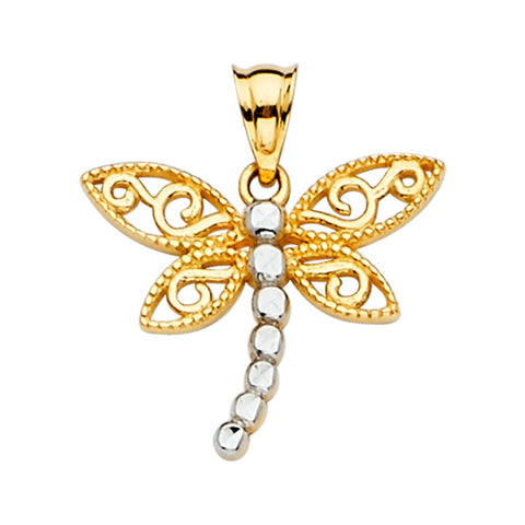 14K Gold Dragon Fly Charm Pendant