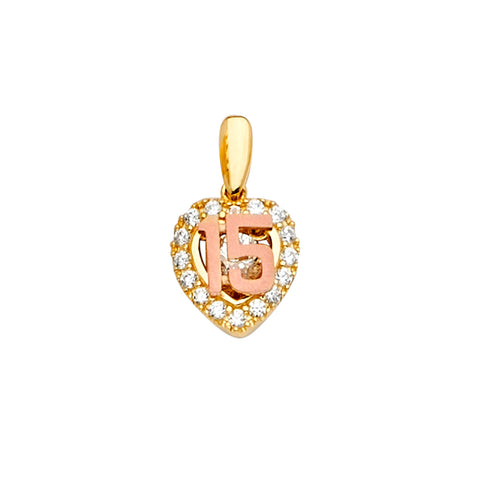 14K Gold CZ 15 Years Quinceanera Charm Pendant