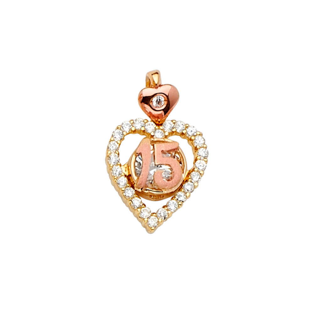 14K Gold CZ 15 Years Quinceanera Heart Charm Pendant