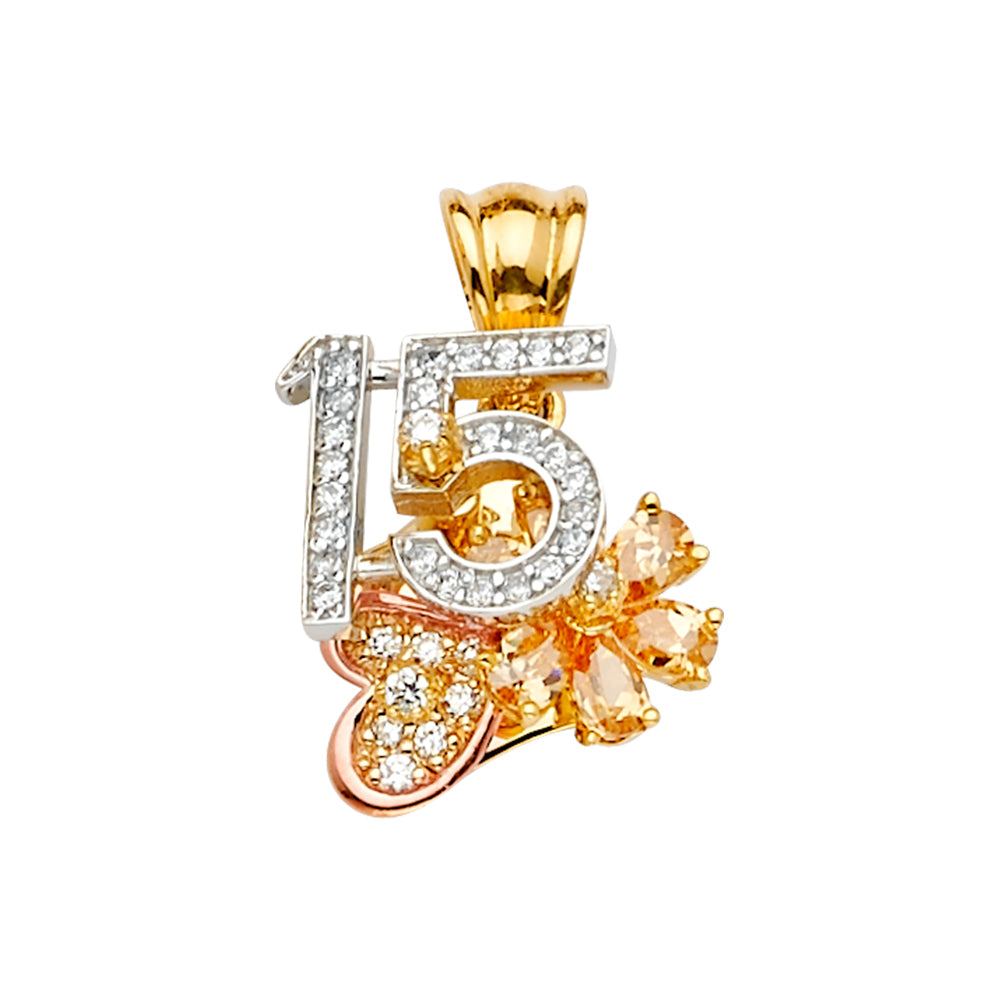 14K Gold CZ Quinceanera Heart & Flower Motion Charm Pendant