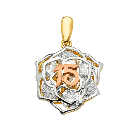 14K Gold 15 Years Birthday Quinceanera CZ Flower Mix & Match Charm Pendant