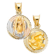 14K Gold Diamond Cut Double Side Stamp Virgin Mary Baptism Charm Pendant with 1.1mm Wheat Chain Necklace