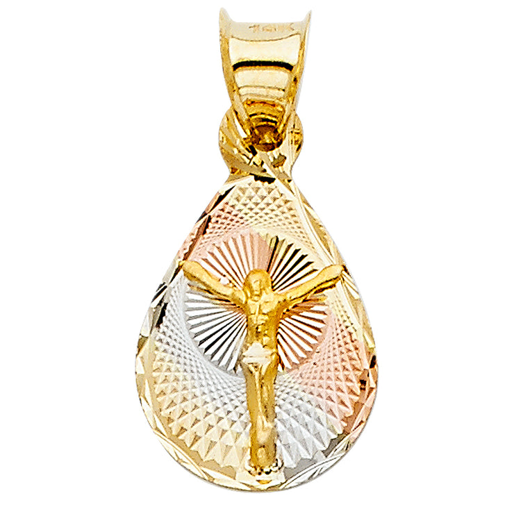 14K Gold Jesus Crucifix Stamp Pendant with 2.3mm Hollow Cuban Chain