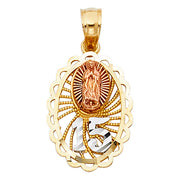14K Gold Quinceanera Virgin Mary Round Pendant with 2.1mm Valentino Chain