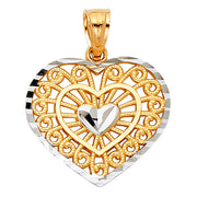 14K Gold Fancy Inside Heart Charm Pendant with 0.8mm Box Chain Necklace