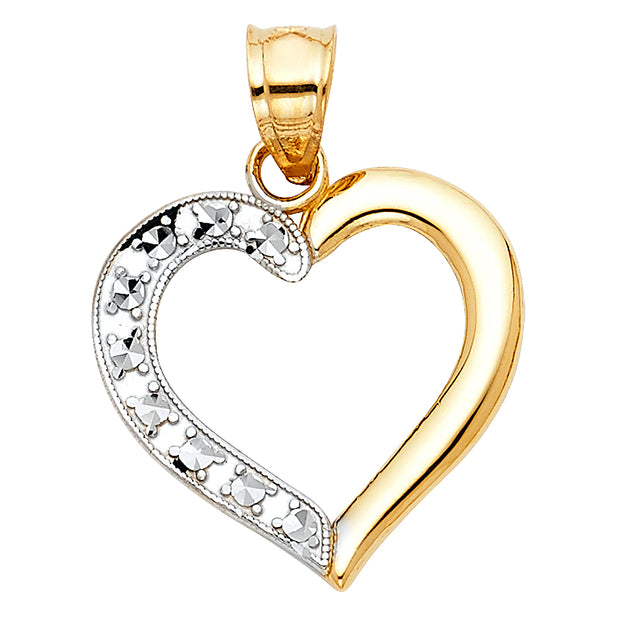 14K Gold Heart Charm Pendant with 0.8mm Box Chain Necklace