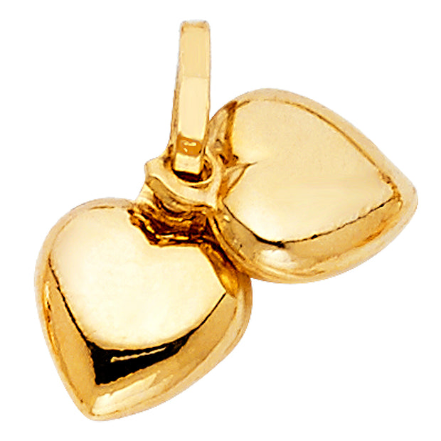 14K Gold Double Plain Heart Charm Pendant with 0.8mm Box Chain Necklace
