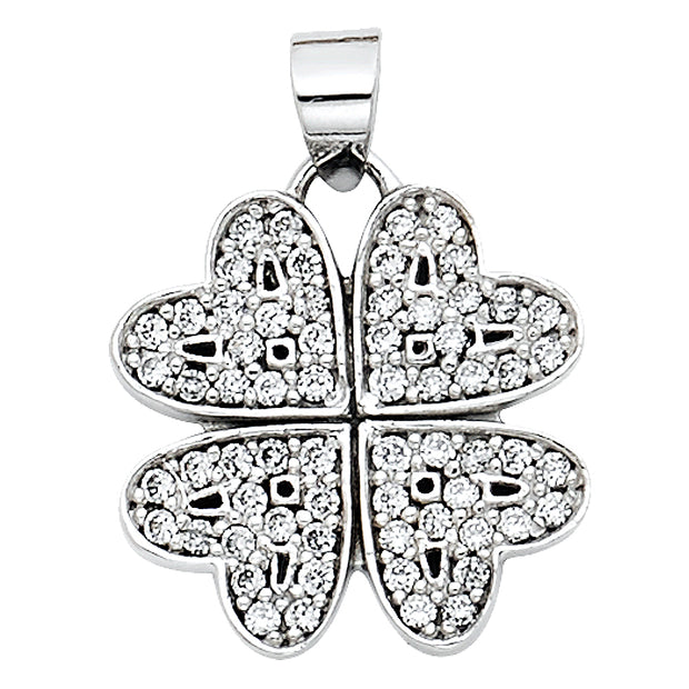 14K Gold Four Hearts Clover CZ Pendant with 0.9mm Singapore Chain
