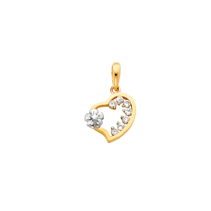 Fancy CZ Heart Pendant for Necklace or Chain