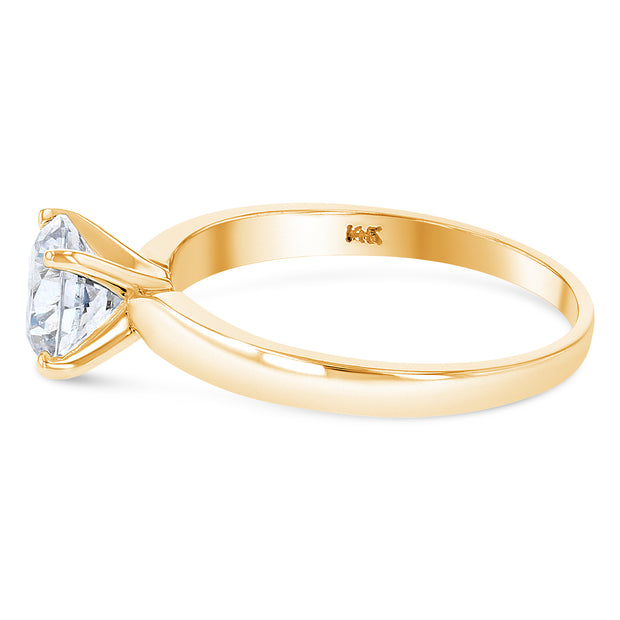 14K Solid Gold 1 Ct. Round Cut Solitaire CZ Engagement Ring