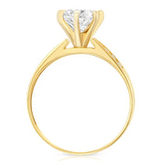 14K Solid Gold 1 Ct. Round Solitaire CZ Engagement Ring