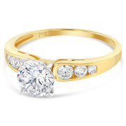 14K Solid Gold 0.5 Ct. Round Solitaire CZ Engagement Ring
