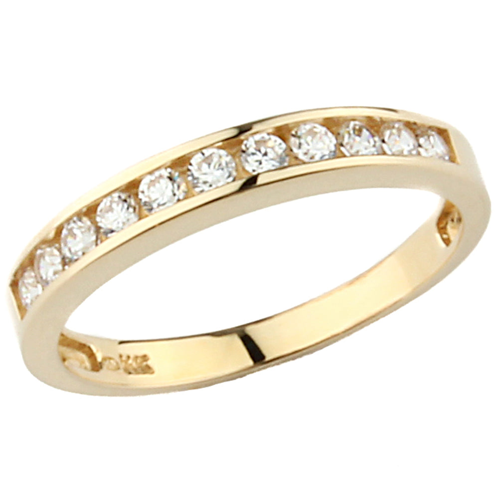 Womens Solid 3MM Wedding Band Solid 14K Yellow Gold Ring with Cubic Zirconia CZ Stones