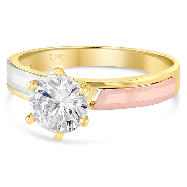 14K Solid Gold 1 Ct. Solitaire CZ Womens Engagement Ring