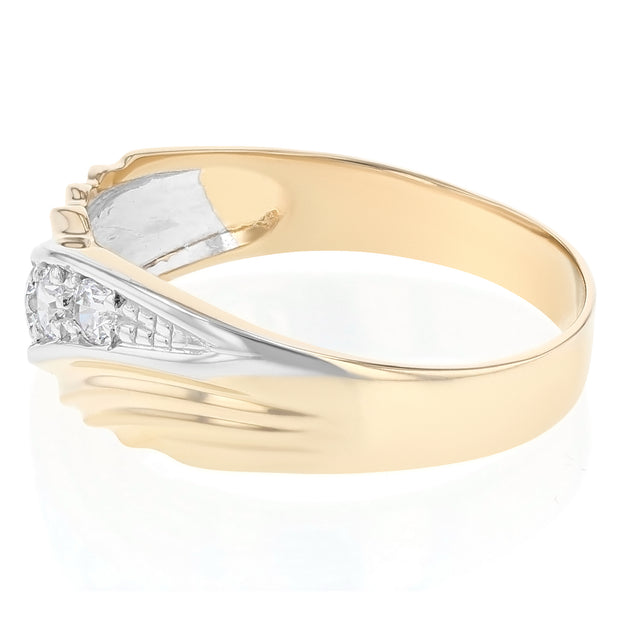 14K Solid Gold CZ Men's Band Ring