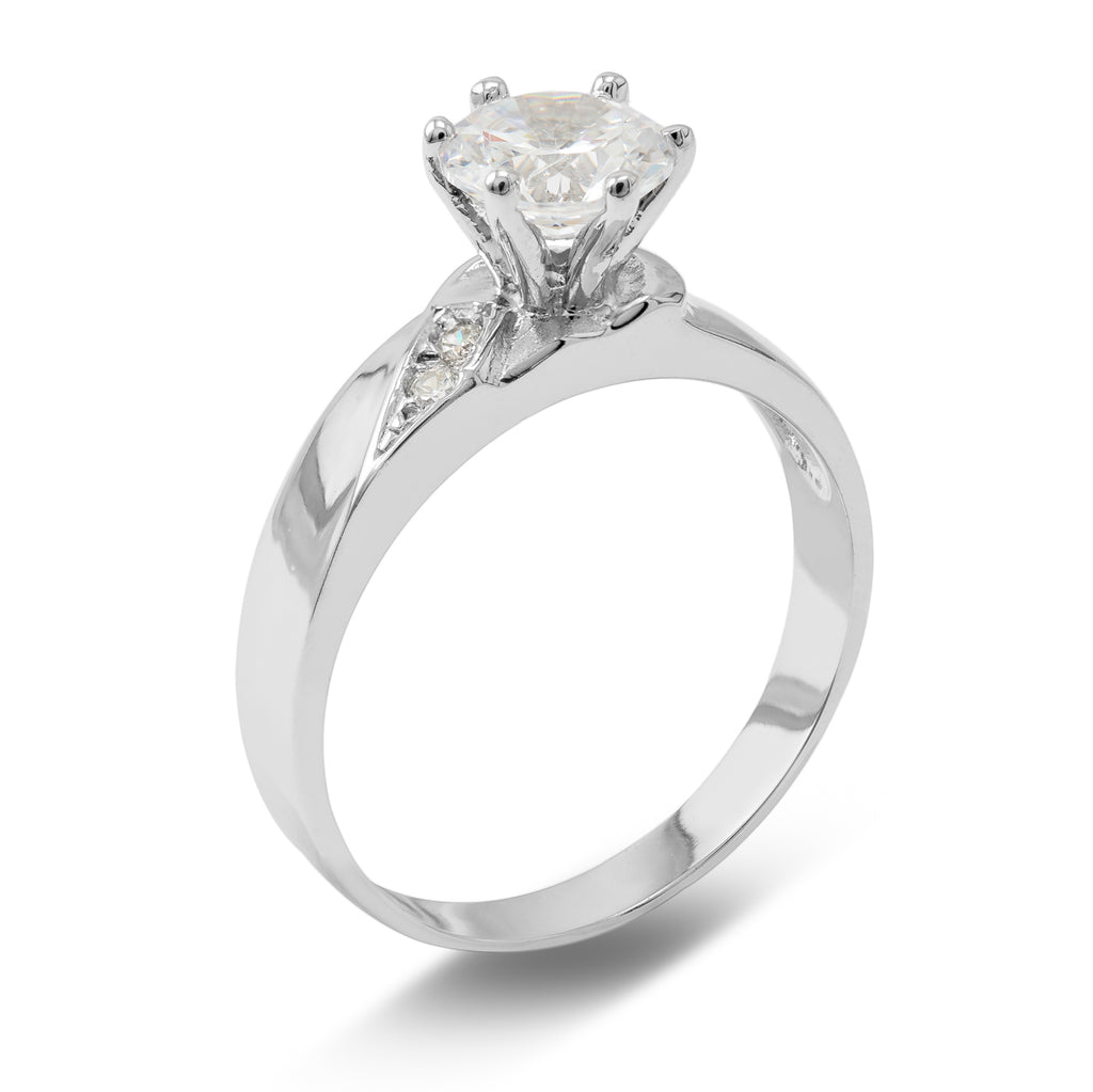 1 Ct. Cubic Zirconia CZ Solitaire Round Cut 4MM Engagement Ring Solid 14K White Gold With Stones on Band