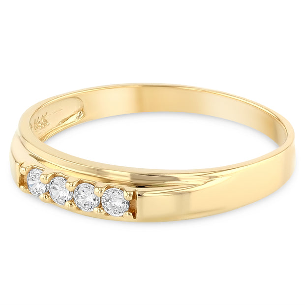 14K Solid Gold Wedding Ring with Stones in Band for Women