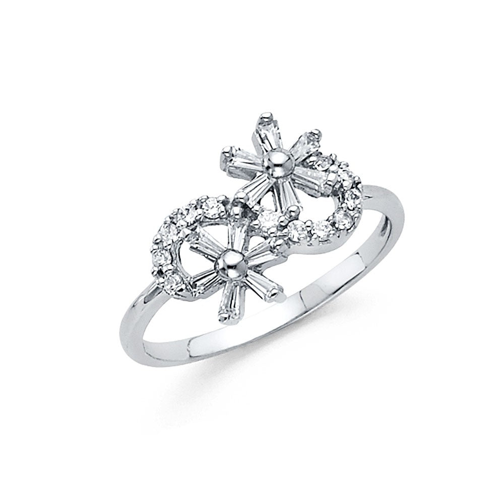 Solid 14K White Gold Two Cubic Zirconia CZ Flower Ring for Women
