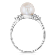14K Gold 8mm Cultured Pearl & CZ Wedding Engagement Ring
