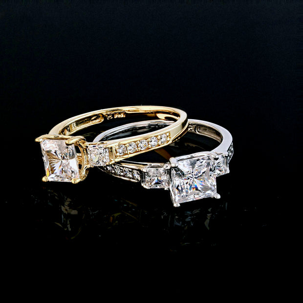 14k Solid Gold 1.5 Ct. Cubic Zirconia CZ 3 Stone Princess Cut Engagement Ring Band