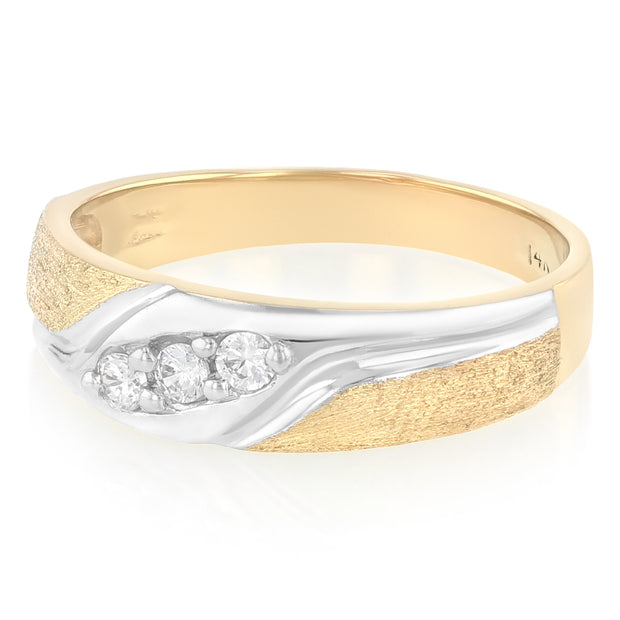 14K Solid 3 Stone Gold CZ Men's Wedding Band