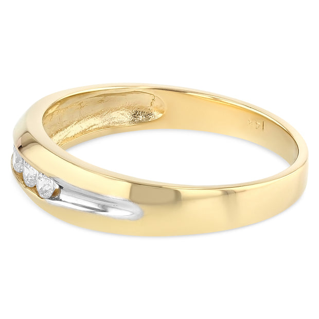 14K Solid Gold CZ Men's Wedding Band