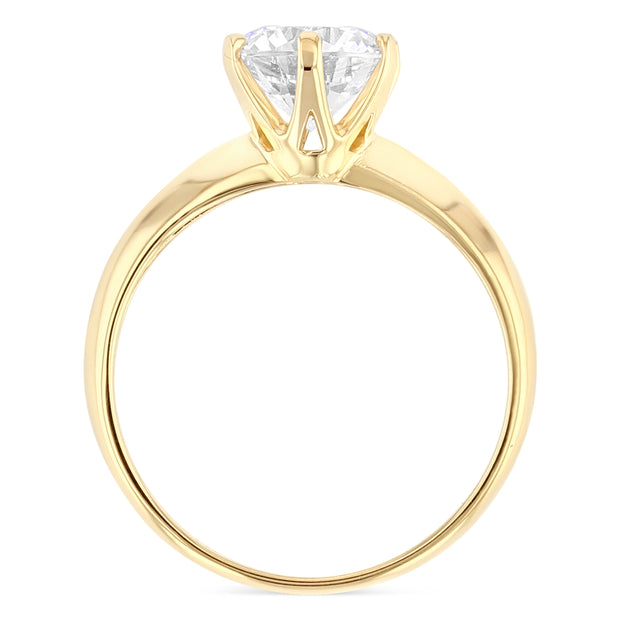 14K Gold Round Cut Solitaire CZ Engagement Ring