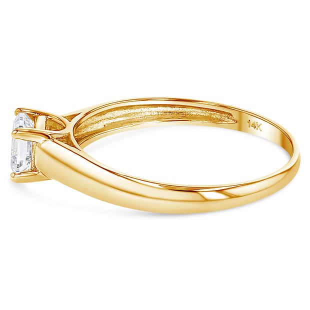 14K Gold  0.75 Princess Cut CZ Wedding Engagement Ring