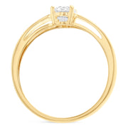 14K Gold  0.75 Round Cut CZ Wedding Engagement Ring