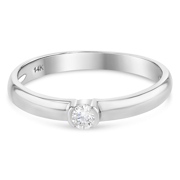 14K Gold  0.1 Ct. Round Cut Solitaire CZ Wedding Engagement Ring