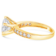 14K Gold 2.25 Ct Round Cut Solitaire CZ Wedding Engagement Ring