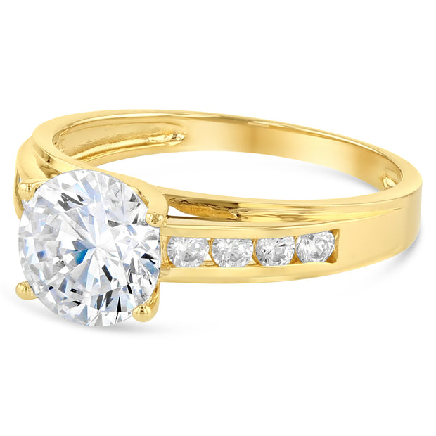 14K Solid Gold 1.5 Ct. Round Cut Solitaire CZ Wedding Engagement Ring