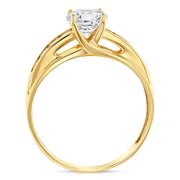 14K Solid Gold 1 Ct. Round Cut CZ Wedding Engagement Ring