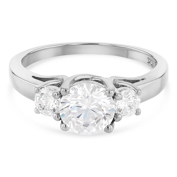 14K Gold 1 Ct. 3 Round Tri Stone CZ Wedding Engagement Ring
