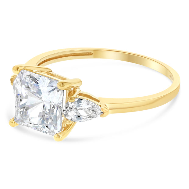 14K Gold 1.25 Ct. Princess Cut Tri Stone CZ Wedding Engagement Ring