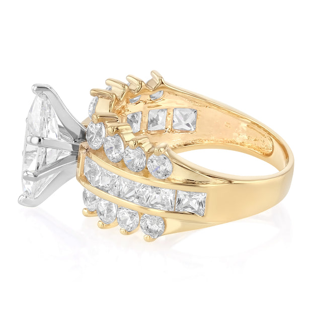 14K Gold 1.5 Ct. Marquise Cut CZ Fancy Wedding Engagement Ring