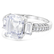 14K Gold 2.5 Ct. Emerald Cut CZ Wedding Engagement Ring