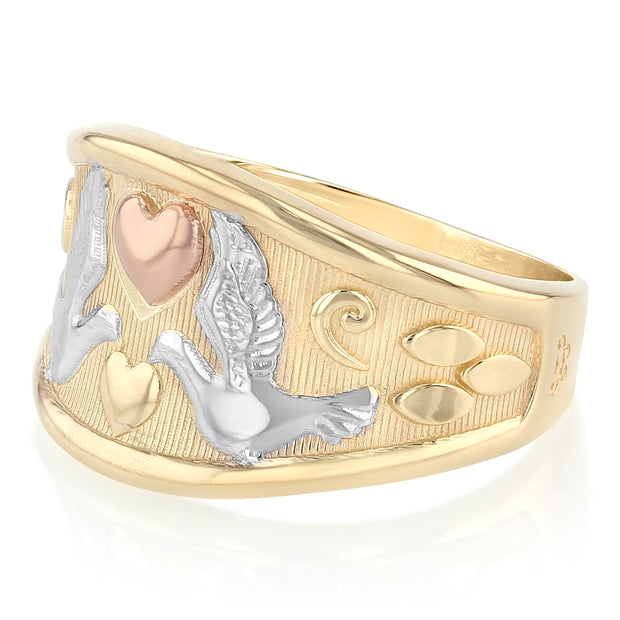 14K Solid Gold Fancy Dove and Heart Ring