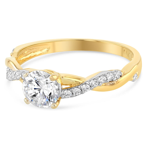 Round Cubic Zirconia Solitaire Engagement Ring alternative to expensive diamond ring in 14k gold