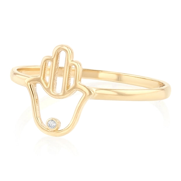 14K Solid Gold Hamsa Hand Protection & Good Luck Symbol Ring