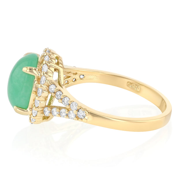 14K Solid Gold Oval Cut Green Jade CZ Vintage Ring