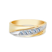 14K Solid Gold 5 Stone CZ Men's Wedding Band