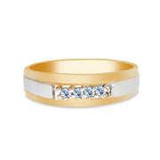 14K Solid Gold 4 Stone CZ Men's Wedding Band
