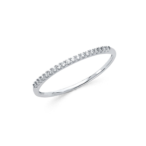 14K Solid Gold 1.5MM CZ Stackable Eternity Band Ring