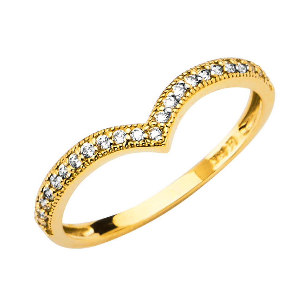 Ioka -14K  Solid Yellow Gold OR White Gold CZ V Shape Braided or Twisted Rope Stackable Band Ring