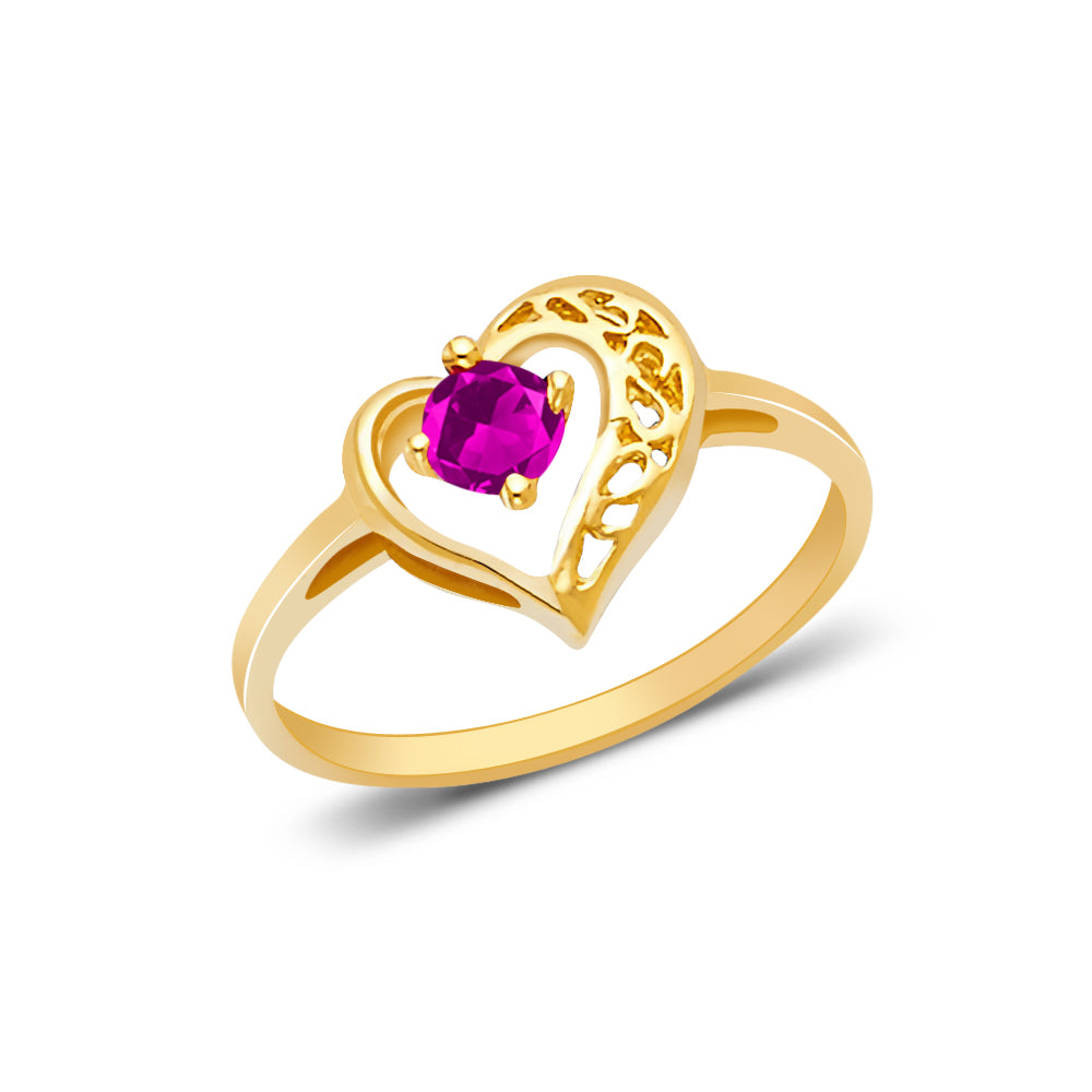 14K Yellow Solid Gold Women's Fancy Heart With Red Round Cut Cubic Zirconia CZ Ring